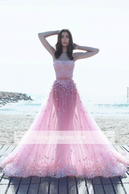 Glamorous Pink Appliques Tulle A-Line Strapless Prom Dresses
