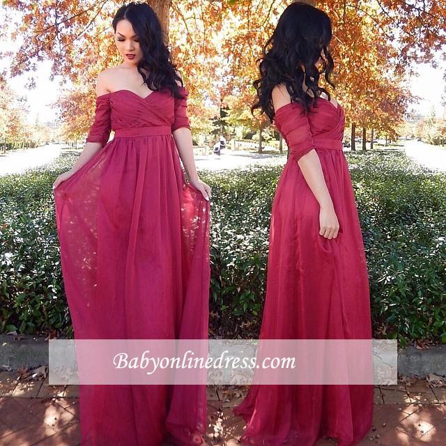 Off-the-shoulder Ruffles Half-sleeve Long Chiffon Cheap Evening Dresses