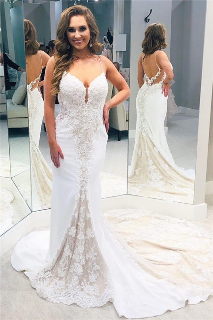 Backless Lace Wedding Dresses | V-neck Mermaid Bridal Gowns