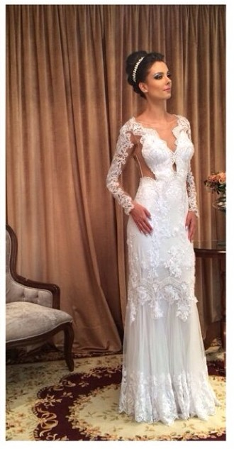 White Lace Sheath Sleeve Column Floor Length Long Wedding Dress