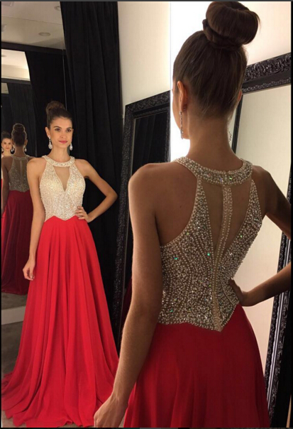 Red Chiffon Prom Dresses Halter V Neck Sleeveless Beading Long A-line Evening Gowns