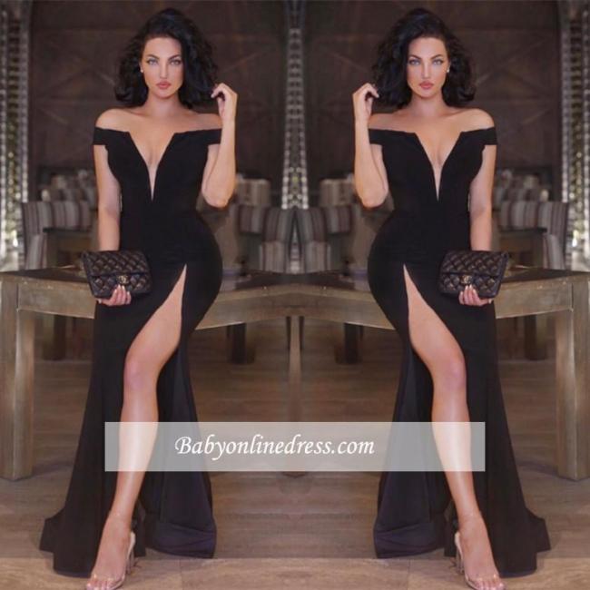 New Arrival Off-the-shoulder Black Part Dresses Front-Split Mermaid V-neck Prom Dress