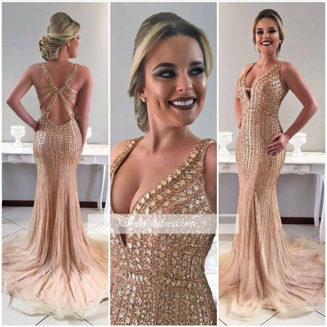 Crystal Gorgeous Sleeveless Mermaid Sweep-Train Straps Prom Dress
