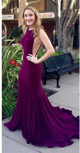 Sexy Backless Mermaid Prom Dresses Purple Court Train Evening Gowns