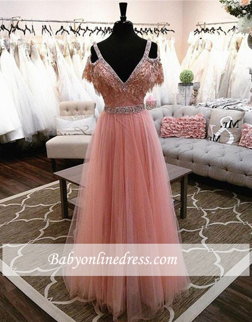 Charming A-line Pink Lace V-neck Beading Floor-length Evening Dress