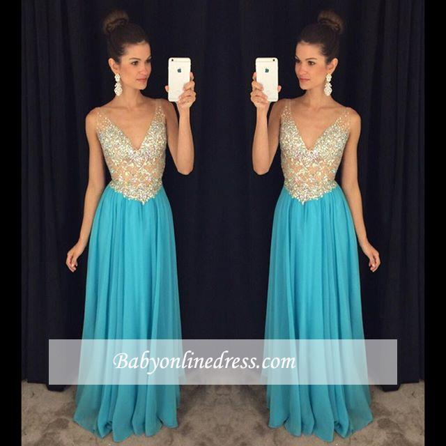 Sexy V-Neck Prom Dresses Crystal Ruffles Sleevelesss Evening Gowns