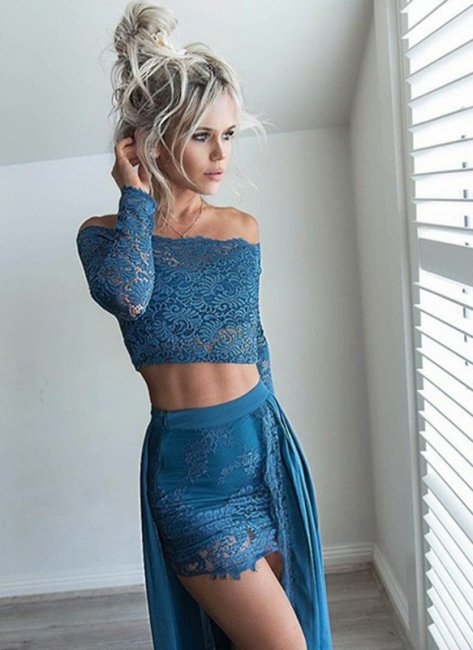 Sexy Two Pieces Mini Homecoming Dresses | Off-The-Shoulder Lace Party Dresses With Over Skirt