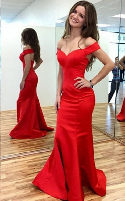 Red Off-the-Shoulder Mermaid Prom Dresses Sweep Train Party Gowns