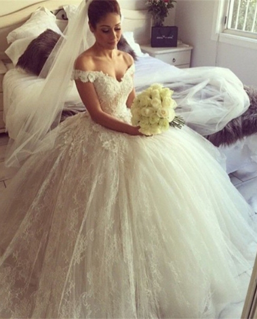 2020 Elegant Tulle Lace Wedding Dresses Off-the-Shoulder Bridal Ball Gowns