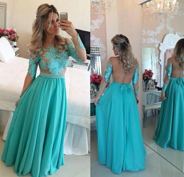 A-Line Long Sleeves Lace Prom Dresses Chiffon Long Evening Gowns with Beadings