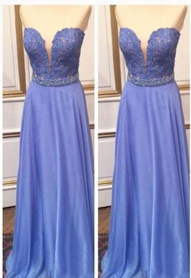 Cheap Sweetheart Lace Crystal A-Line Floor Length Prom Dresses