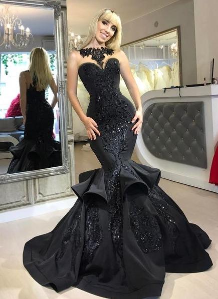 Shiny Black Mermaid Prom Dresses | Sleeveless Beaded Ruffles Skirt Evening Gowns