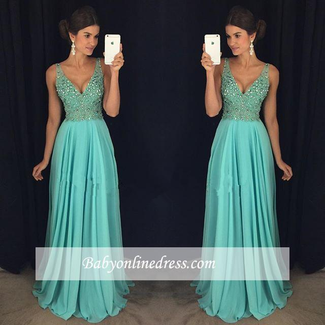 Elegant V-Neck Prom Dress 2018 Beadings Long Chiffon Party Gowns