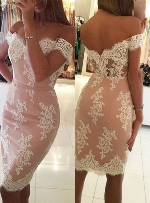 Elegant Pink Sheath Homecoming Dresses | Off-the-Shoulder Short Cocktail Dresses