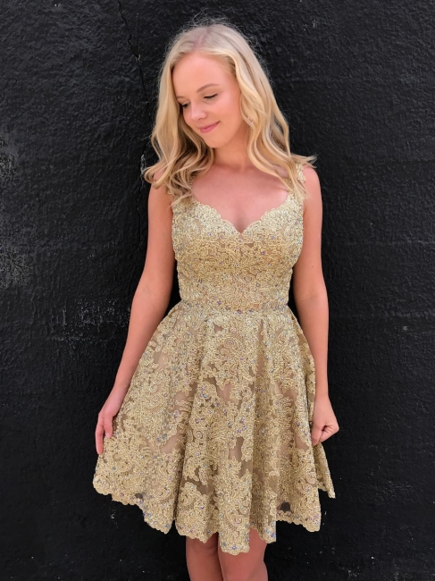 Brilliant Gold A-Line Homecoming Dresses | V-Neck Sleeves Lace Applique Beaded Mini Cocktail Dresses