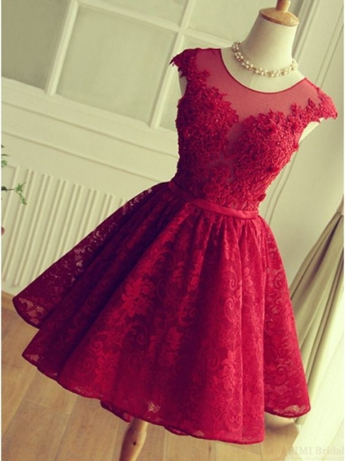 Red Short Lace Applqiues Homecoming Dress Cap Sleeves A-Line Cocktail Dresses
