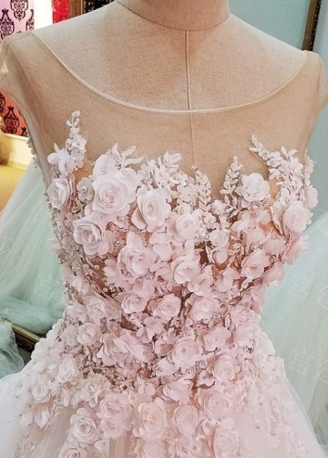 Cap Sleeves Flowers Lace-Up Ball-Gown Luxury Wedding Dresses
