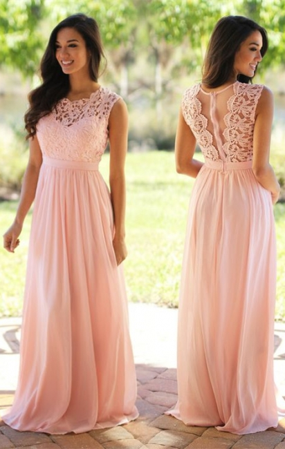 Cheap Sleeveless Lace Prom Dresses Chiffon Pink Sheer Back Long Evening Gowns