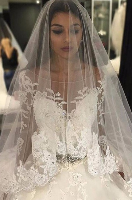 Luxury Appliques Long-Sleeves Bridal Gowns 2018 Scoop Crystal Tulle Wedding Dress