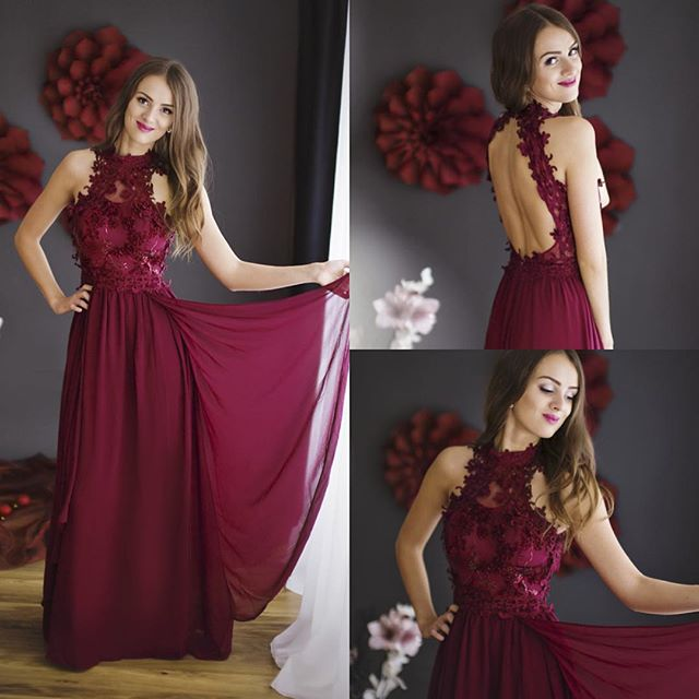 Lace Chiffon Sheath Burgundy Halter Floor-length Sleeveless Prom Dress