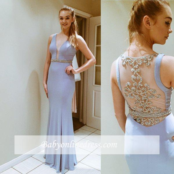Glamorous Long Sleeveless Prom Dress Floor-Length Evening Gowns with Beadings