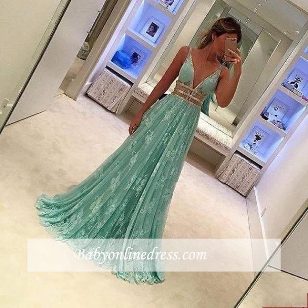 Mint Green Sheer Prom DressesLace Deep V-Neck A line Evening Gowns
