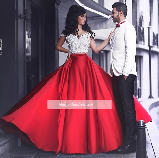 Appliques Lace Red Off-the-Shoulder Elegant Evening Dress 2018
