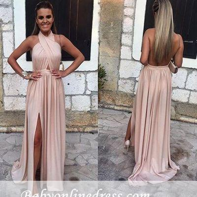 Alluring Halter Backless A-line Prom Dress Split-front Sleeveless Evening Gowns