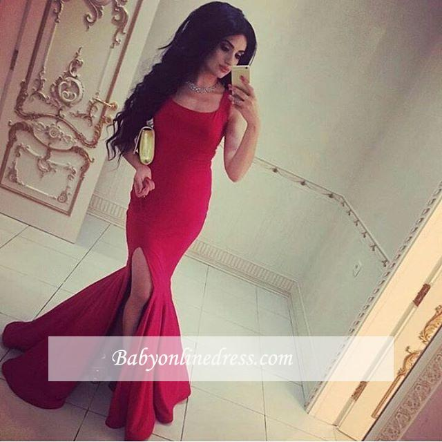 2018 Red Straps Mermaid Square-Neck Simple Side Slit Evening Gowns