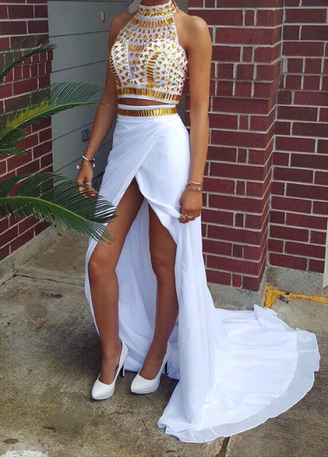 Two Piece High Neck Chiffon Prom Dresses | Crystals Front Slit Sexy Formal Party Dresses