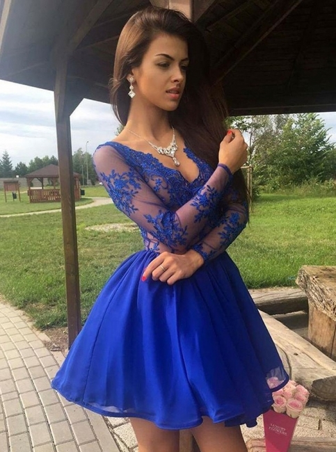 Sexy Royal Blue Homecoming Dresses | Long Sleeves V-Neck Cocktail Dresses