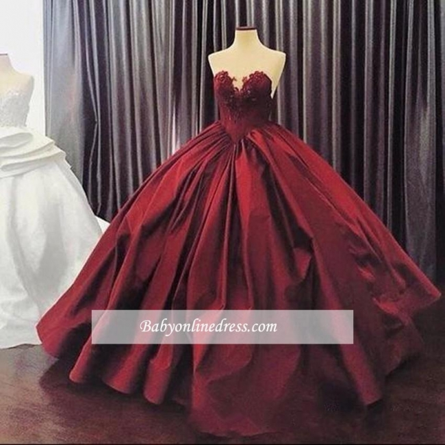 Appliques Ball-Gown Elegant Sweetheart Sleeveless Prom Dress