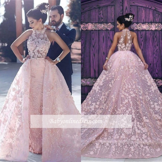 Pink Lace-Appliques Halter Glamorous Sleeveless Evening Dress 2018