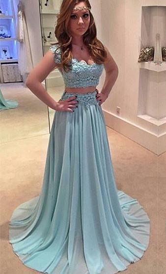 Chiffon A-line Two-Piece Newest Sweep-Train Lace Prom Dress