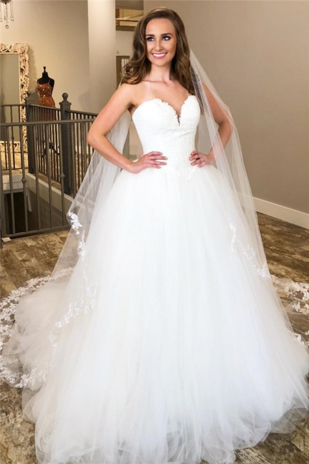 Sweetheart Ball Gown Wedding Dresses | Cheap Tulle Bridal Gowns