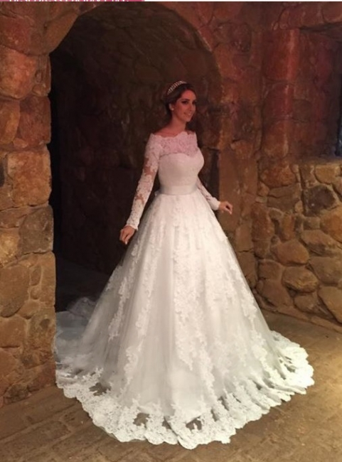 Off-The-Shoulder Elegant Long-Sleeves Lace-Applique A-Line Wedding Dresses