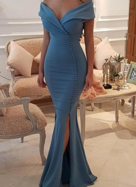 Sexy Blue Slit Evening Gowns | Off-the-Shoulder Buttons Prom Dresses