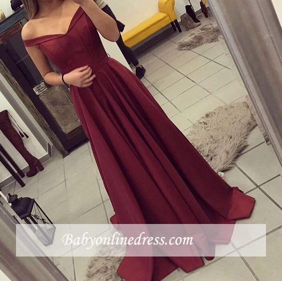 New Arrival Elegant Burgundy A-line Teens Off-the-Shoulder Prom Dresses BA4791