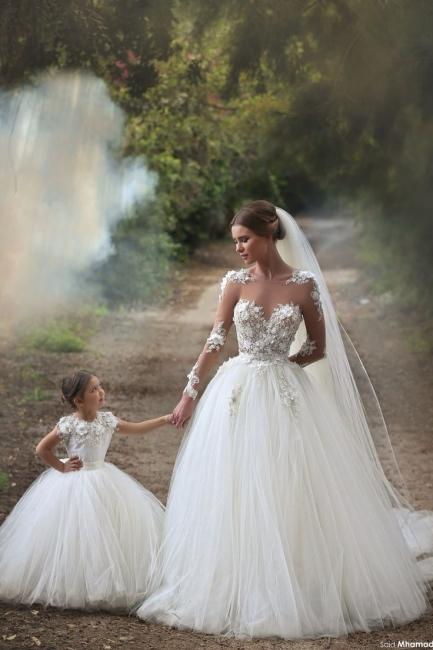 Elegant Tulle Appliques Sleeveless Long Ball Flower Girl Dresses