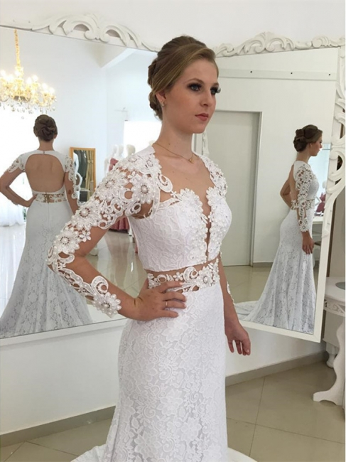 Elegant White Appliques Open Back Mermaid Wedding Dresses Sleeves Lace