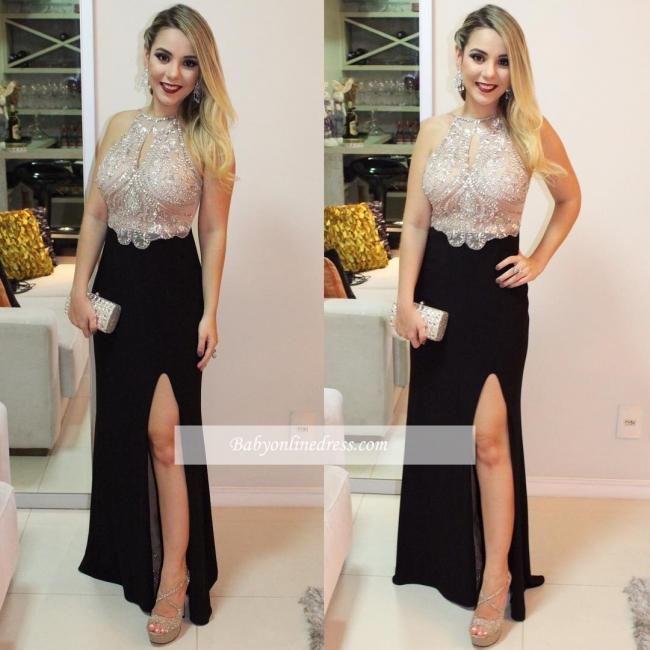 Front-Split Delicate Beading Halter Sleeveless Prom Dress