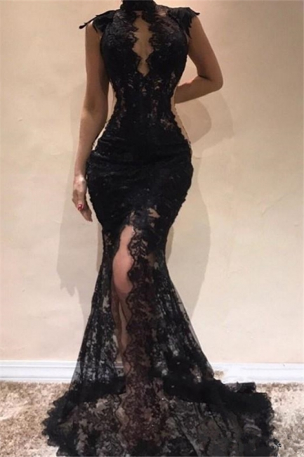 Sexy Sleeveless Black Lace Fit and Flare Prom Dresses | Mermaid Long Evening Dresses