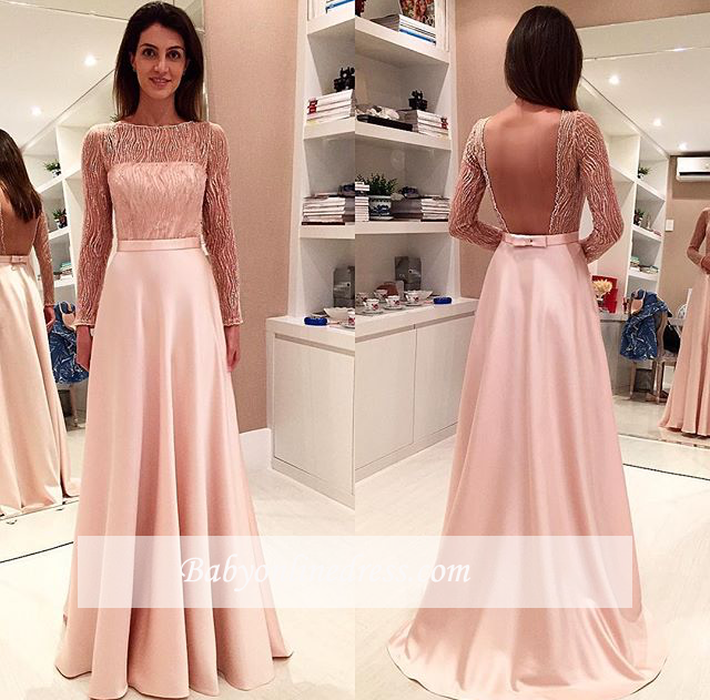 Glamorous Long Long-Sleeve Prom Dress Open-Back Evening Dress with Bowknot