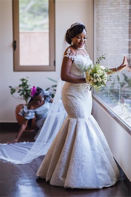 Graceful Scoop Jewel Applique Floor Length Fit And Flare Mermaid Wedding Dresses