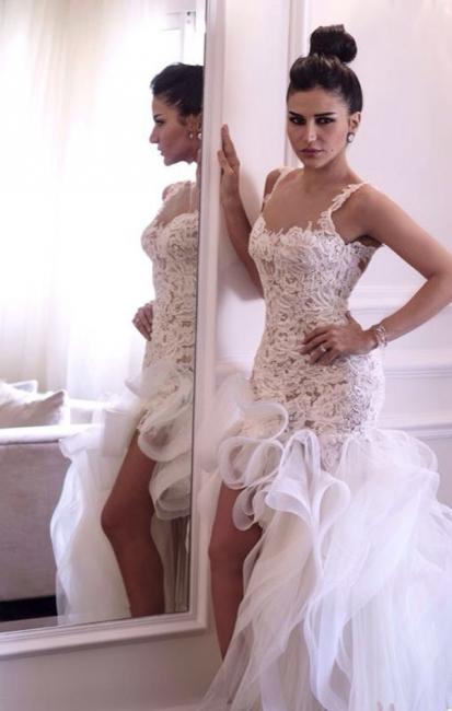Hi-lo Mermaid Beach Wedding Dresses Straps Open Back Lace Ruffles Train Sexy Bridal Gowns