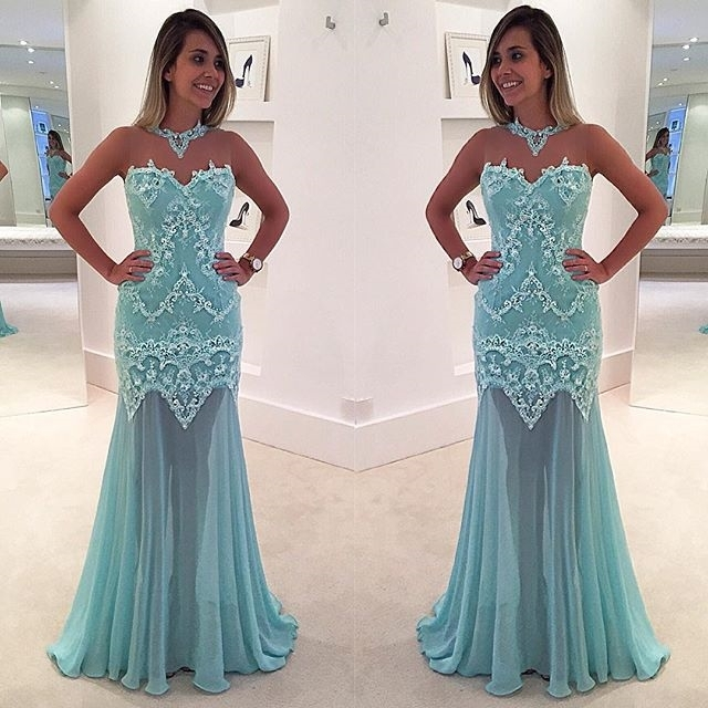 Mermaid Sleeveless Lace High-Neck Sexy Sweep-Train Appliques Prom Dress