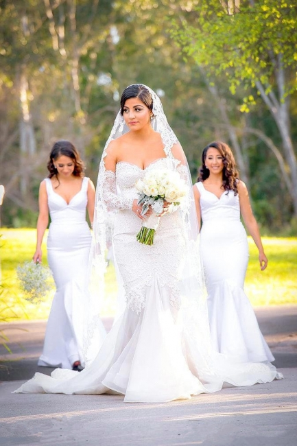 Gorgeous Lace Sweetheart  Mermaid Wedding Dress with Zipper and Pearls