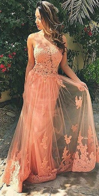 A-Line Sleeveless Tulle Prom Dresses Appliques Backless Party Gowns