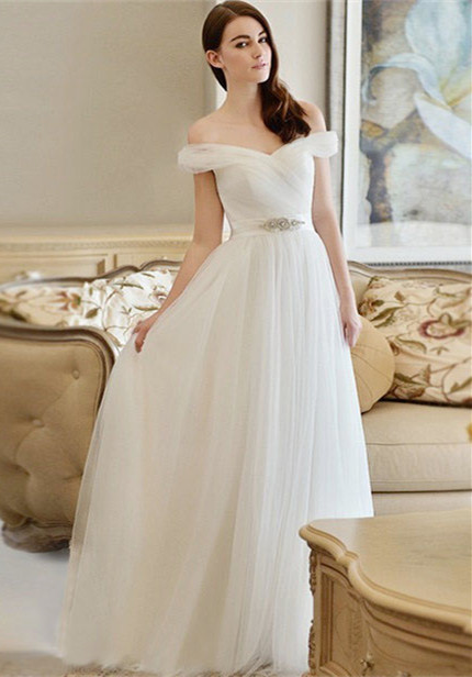 New Arrival Long Crystal Off-the-shoulder Tulle A-line Wedding Dress