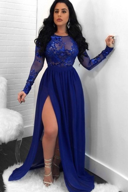 Sexy Royal Blue Slit Evening Dresses | Long Sleeves Open Back Sequin Prom Dresses